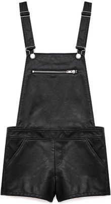 Forever 21 Edgy Faux Leather Overall Shorts - Lyst