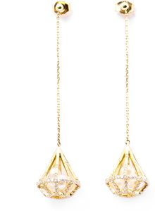 Melanie Georgacopoulos Diamond Pearl Yellow Gold Drop Earrings - Lyst