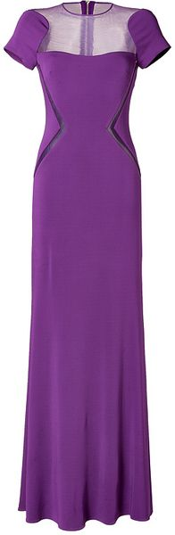 Elie Saab Sheer Panel Gown in Royal Purple - Lyst