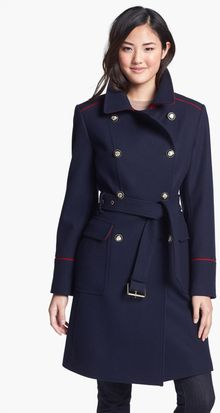 Vince Camuto Contrast Piping Belted Military Coat - Lyst