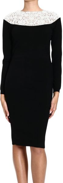 Valentino Dress Long Sleeve Knitted Bicolor Macrame Embroidery - Lyst