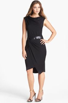 Vera Wang Faux Leather Inset Drape Jersey Dress - Lyst