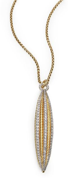 David Yurman Diamond 18k Gold Flower Pod Pendant Necklace - Lyst