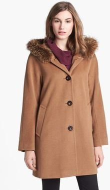 Ellen Tracy Genuine Fox Fur Trim Aline Coat - Lyst
