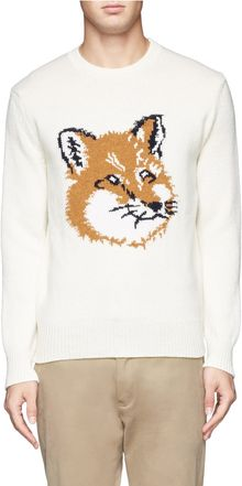 Kitsuné Fox Pattern Wool Sweater - Lyst