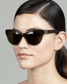 The Row Cateye Leatherarm Sunglasses Walnut - Lyst