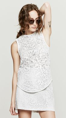 Wayne Leather Lace Tank - Lyst