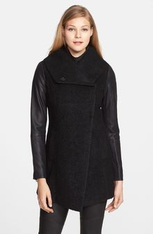 Steve Madden Faux Leather Sleeve Bouclé Coat - Lyst