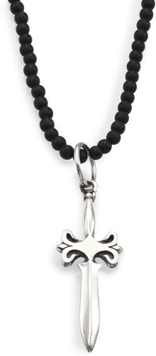 King Baby Studio Onyx Bead Sterling Silver Dagger Necklace - Lyst