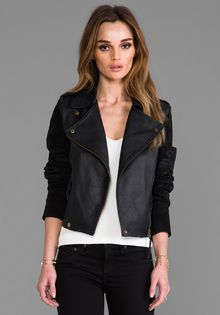 Twelfth Street by Cynthia Vincent Talitha Embroidered Suede Sleeve Moto Jacket in Black - Lyst
