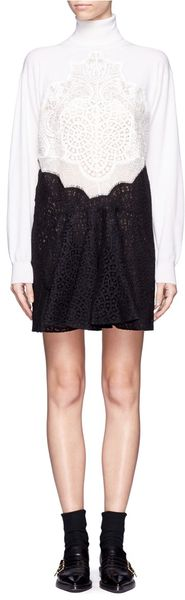 Stella McCartney Contrast Lace Knitted Dress - Lyst