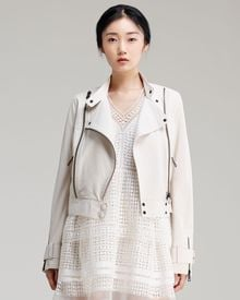 Chloé Lightweight Lambskin Leather Jacket Off White - Lyst
