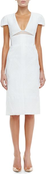 J. Mendel Textured Capsleeve Sheath Dress - Lyst
