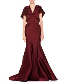 Zac Posen Stretch Duchesse Cape Gown Bordeaux - Lyst
