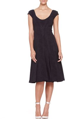 Zac Posen Pleated Capsleeve Dress Midnight - Lyst