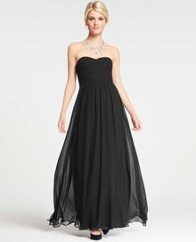 Ann Taylor Silk Georgette Shirred Strapless Gown - Lyst