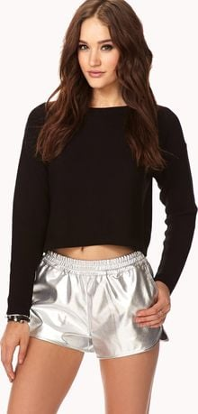 Forever 21 Luxe Metallic Faux Leather Shorts - Lyst