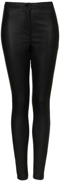 Topshop Debbie High Waist Faux Leather Pants - Lyst
