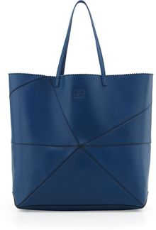 Loewe Lia Origami Leather Tote Bag In Navy - Lyst