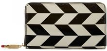 Lulu Guinness Black and Stone Leather Chevron Continental Wallet Black and Stone Leather Chevron Continental Wallet - Lyst