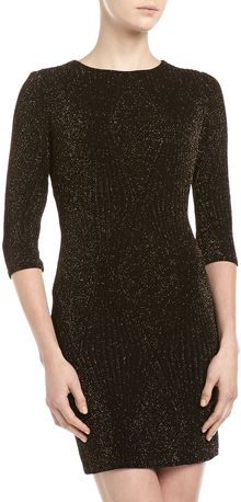 Alexia Admor Glittered Knit Shift Dress Blackgold - Lyst