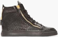 Giuseppe Zanotti Black Croc_embossed High Tops - Lyst