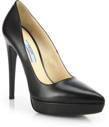 Prada Leather Platform Pumps - Lyst