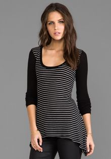 Saint Grace Thermal Maritza Stripe Top in Black - Lyst