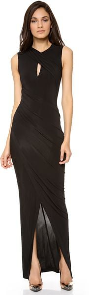 Donna Karan New York Keyhole Draped Evening Dress - Lyst