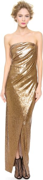 Donna Karan New York Strapless Twist Evening Dress - Lyst