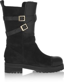 Jimmy Choo Rabbitlined Suede Biker Boots - Lyst