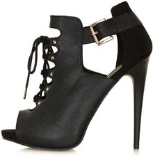 Topshop Gee Black Leather Ghillies - Lyst