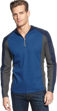 Calvin Klein Long Sleeve Interlock Ribbed Hoodie Shirt - Lyst