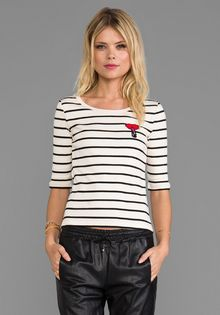 Sonia By Sonia Rykiel Striped Coton Rib Tee in Beige - Lyst