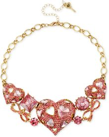 Betsey Johnson Goldtone Pink Crystal Heart Frontal Necklace - Lyst