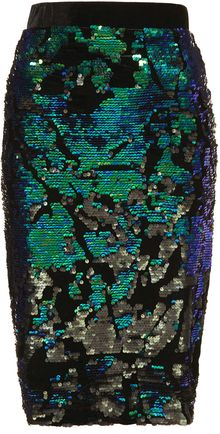 Topshop Velvet Sequin Pencil Skirt - Lyst