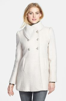 Guess Envelope Collar Double Breasted Boucle Coat - Lyst