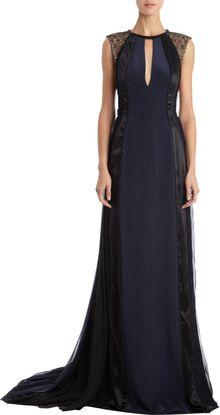 J. Mendel Lace Paneled Full Pleated Sleeveless Gown - Lyst