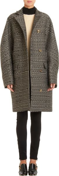 Balenciaga Textured Striped Cocoon Coat - Lyst
