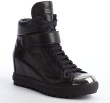 Miu Miu  Leather High Top Metal Toe Sneakers - Lyst