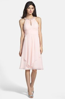 Eliza J Embellished Neck Layered Chiffon Fit Flare Dress - Lyst