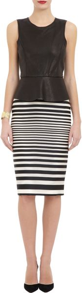 J. Mendel Striped Pencil Skirt - Lyst
