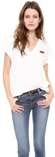 Sonia By Sonia Rykiel Soft V Neck Tee with Lips - Lyst