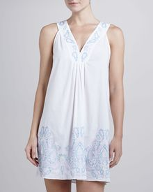 Oscar de la Renta Filigree Scroll Embroidered Short Gown - Lyst