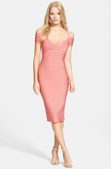 Hervé Léger Off Shoulder Bandage Dress - Lyst