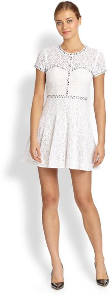 BCBGMAXAZRIA Gill Studded-lace Dress - Lyst