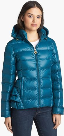 Betsey Johnson Ruffle Trim Down Jacket - Lyst