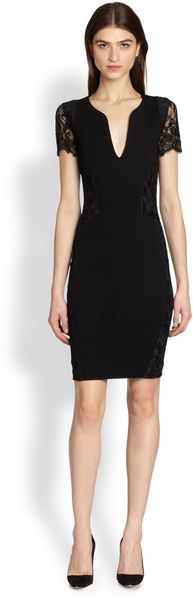 Emilio Pucci Lace-sleeve Sculptural-neckline Dress - Lyst