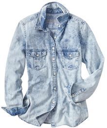 Gap Spotty Denim Boyfriend Shirt - Lyst