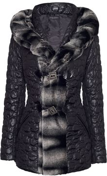 James Lakeland Circular Quilted Coat with Faux Fur - Lyst